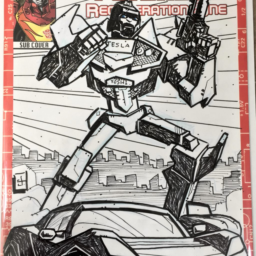 TESLA Roadster Autobot Sketch Cover