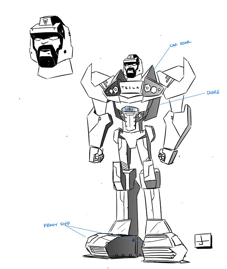 Transformers TESLA Roadster Model Sheet